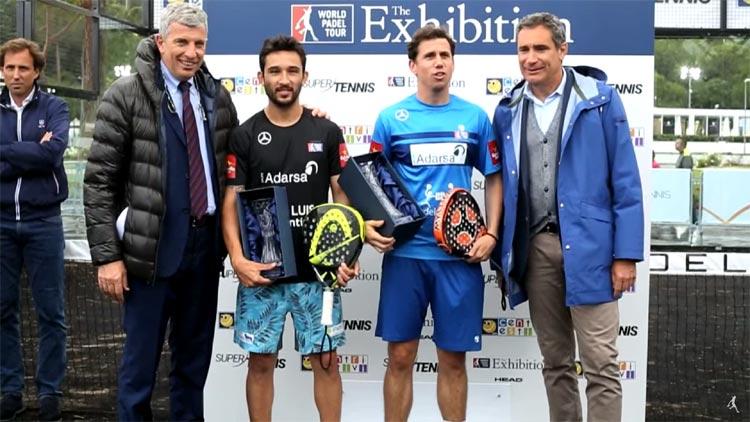 Momento della premiazione dei giocatori degli Internazionali di Padel 2016 di Roma: Sanyo Gutiérrez e Paquito Navarro.
