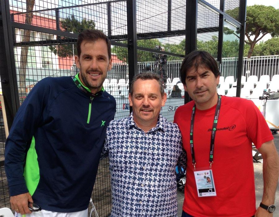 Juan Martin Diaz (sinistra), Claudio Galuppini (Forgiafer - centro) e Cristián Gutiérrez (destra) in occasione degli internazionali di Padel 2016 presso il Foro Italico di Roma.
