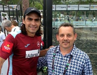 Juani Mieres (sinistra) e Claudio Galuppini (Forgiafer) in presso i campi degli internazionali di Padel 2016 di Roma realizzati da Italian Padel e Officine del Padel.