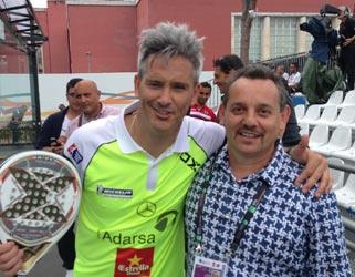 Miguel Lamperti (sinistra) e Claudio Galuppini (Forgiafer) nei pressi dei campi degli internazionali di Paddle 2016 di Roma.