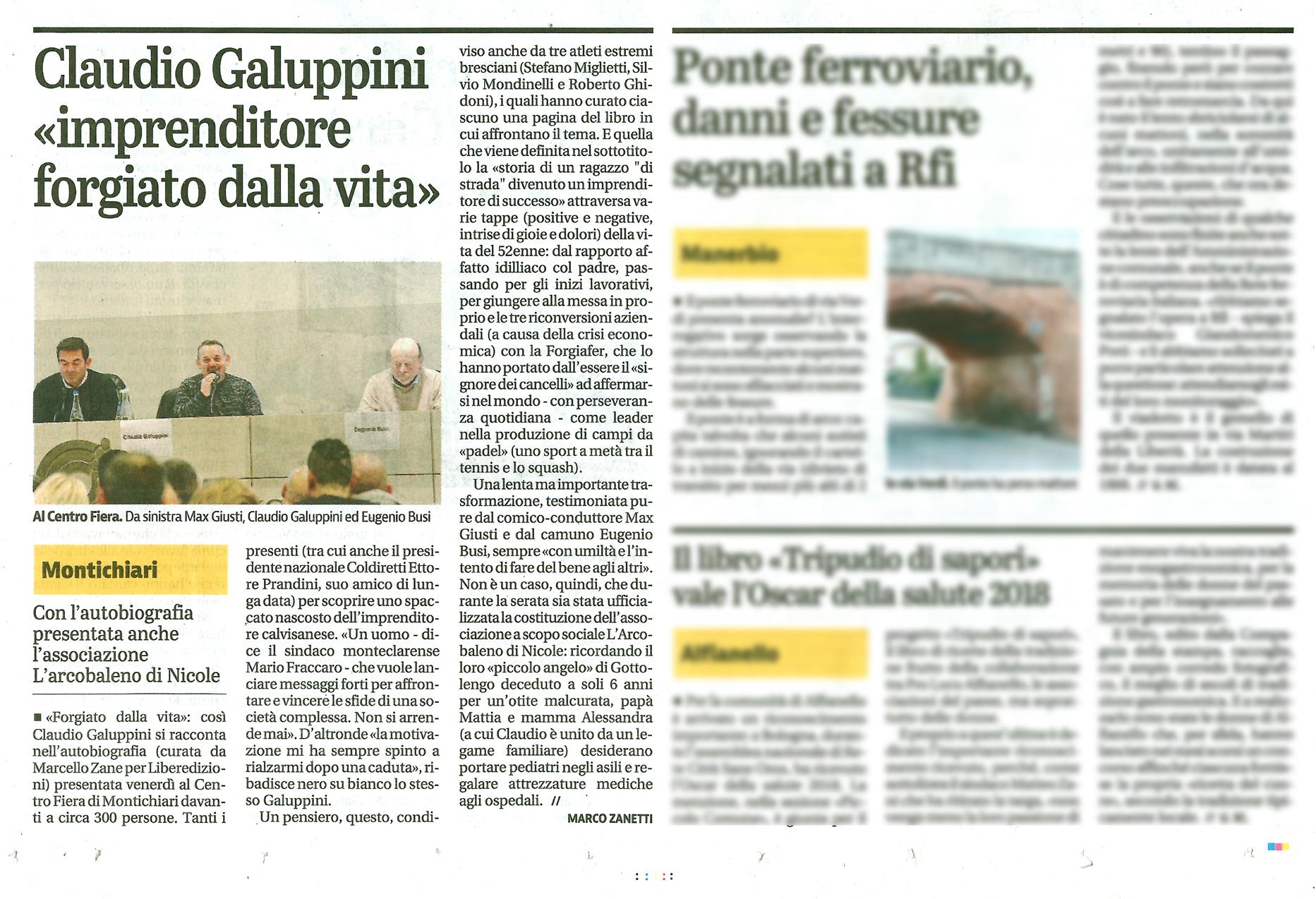 Claudio Galuppini - imprenditore forgiato dalla vita (Giornale di Brescia, 4 Dicembre 2018)