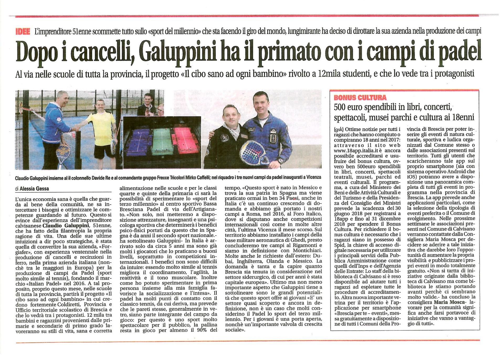 Dopo i cancelli, Galuppini ha il primato con i campi di padel (Montichiari Week, 13 Ottobre 2017)