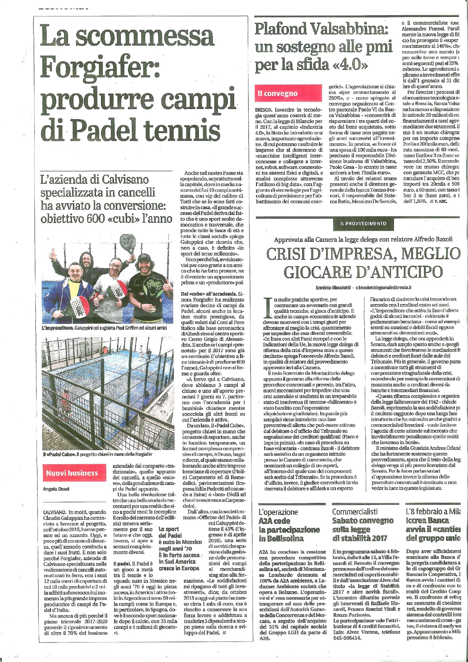 La scommessa Forgiafer, produrre campi di padel tennis (Giornale di Brescia, Febbraio 2017)