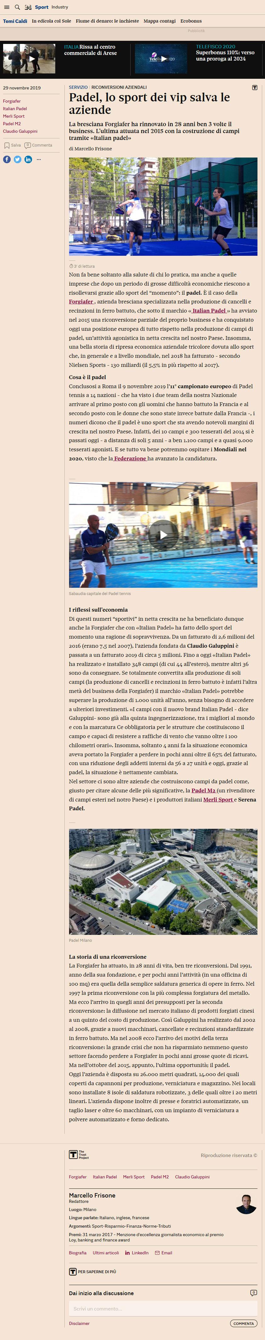 Padel, lo sport dei vip salva le aziende (Il Sole 24 ORE, 29 Novembre 2019)