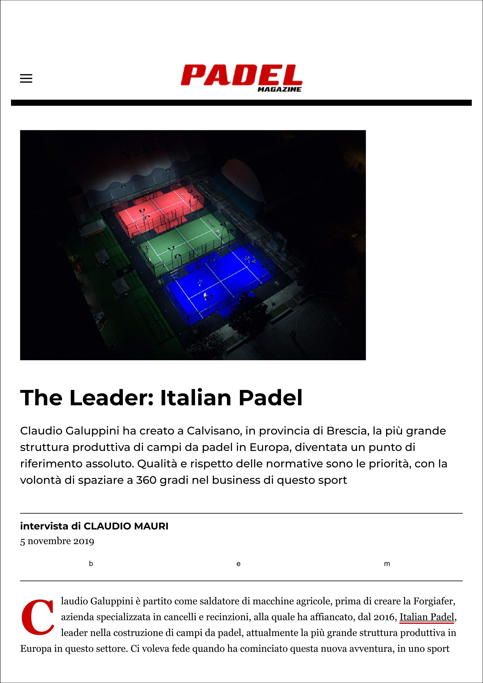 The Leader: Italian Padel (Padel Magazine - 5 novembre 2019) - 1